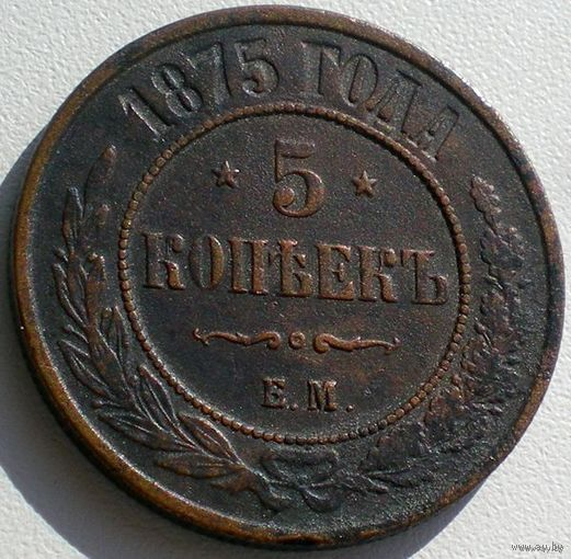 Россия, 5 копеек 1875 года, ЕМ