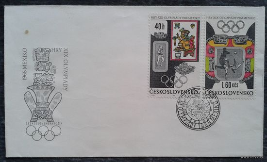 Конверт. Летние Олимпийские игры в Мехико. 1968 г. Чехословакия. Марки и спецгашение