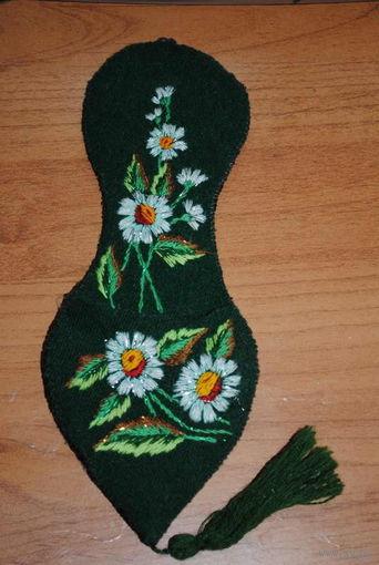 Туфелька/привеска для разных мелочей - (ед.экз) - ручная работа: шерсть, вышивка гладью.