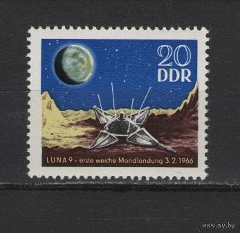 """ГДР 1966 г. Mi No 1168** Первая мягкая посадка на Луну, космического зонда """"Луна 9"""""""