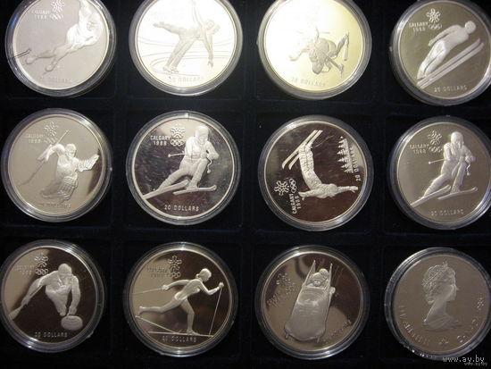 Олимпиада в Калгари 1988, набор 10+2 штуки, серебро