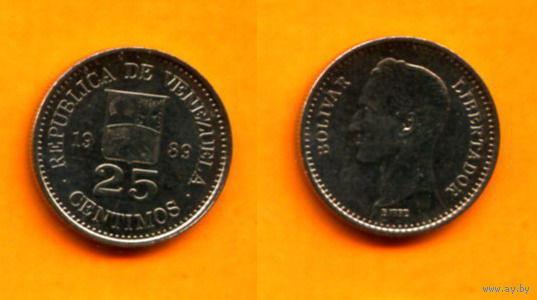 Венесуэла 25 СЕНТАВО 1989г.  распродажа
