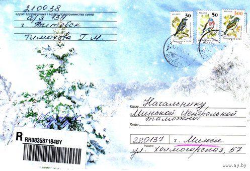 """2007. Конверт, прошедший почту """"Ель в снегу"""""""