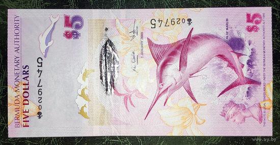 Бермудские острова 5 долларов 2009 год UNC
