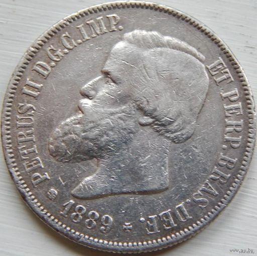 80. Бразильская империя 2000 рейс 1889 год, серебро*