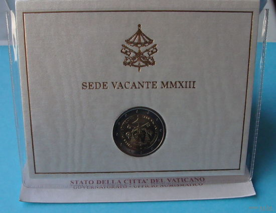 Ватикан 2 евро ВАКАНТНЫЙ ПРЕСТОЛ 2013 год (Тираж -119 тыс. шт) В буклете