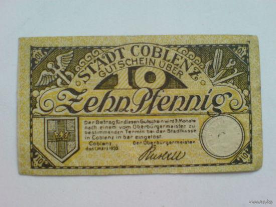 Германия 10 пфенинг 1921г. нотхельд Стад Кобленс   распродажа