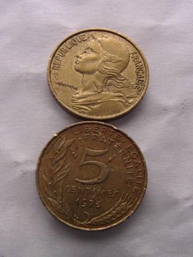 Франция 5 сентим 1975г  распродажа