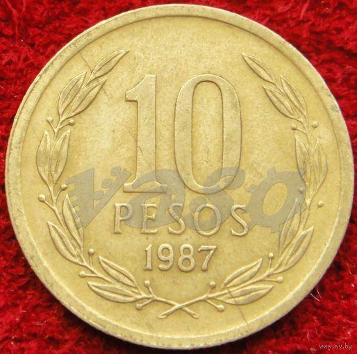6093:  10 песо 1987 Чили