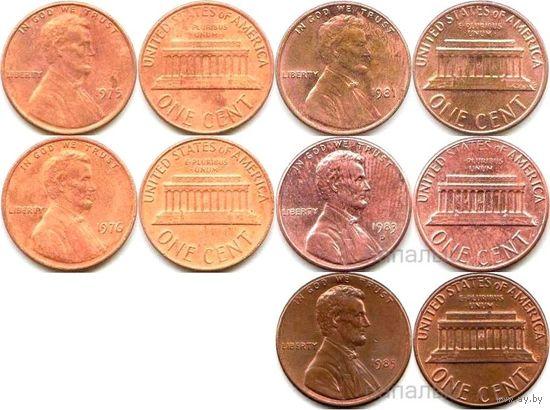 США 1 cent 1975, 1976, 1981, 1983D, 1985, 1987, 1990, 1995, 1996, 2002D, 2006, 2008D, 2010 на выбор