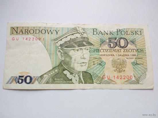 Банкнота 50 злотых 1988г. Польша