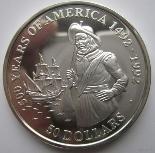 Острова Кука. 50 долларов 1990. Серебро. Пруф. 152