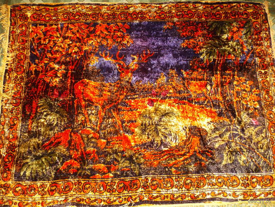 Ковер на стену с оленями плюшевый СССР (2)