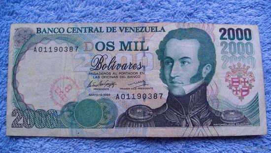 Банкнота Венесуэла 2000 боливаров май-12-1994г всадники A01190387  есть штамп банка     распродажа