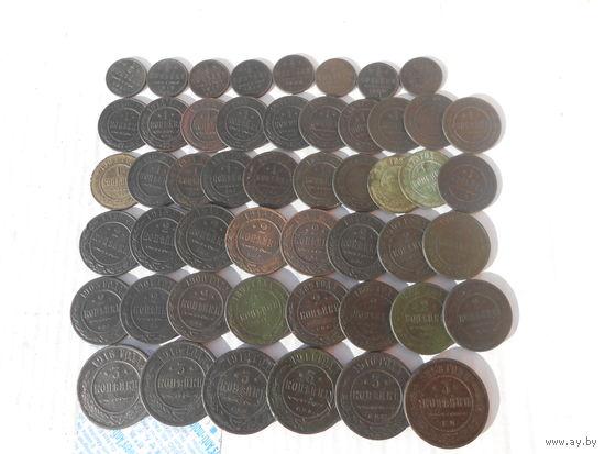 50 медных монет РИ без повторов по году.