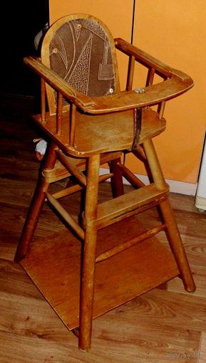 Деревянный детский Стульчик-трансформер для кормления Bambini Ретро