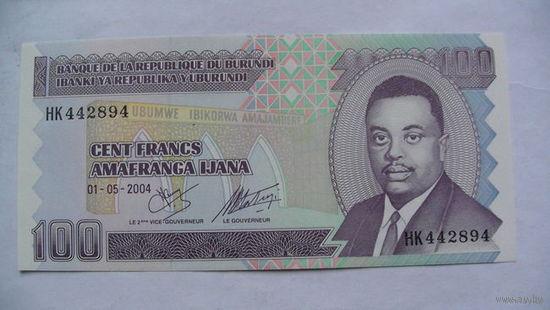 Бурунди. 100 франков  2004 г. UNC.  распродажа