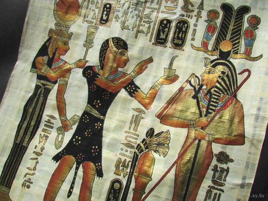 2 картины из Египта. Папирус. Бронзовая рамка.