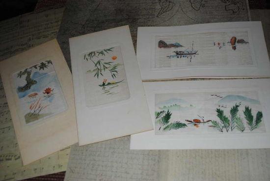 """Сборная серия старинных открыток, по теме: """"Китайская роспись по шёлку"""" - моя коллекция до 1930 года - антикварная редкость - цена за всё, что на фото, по отдельности пока не продаю-!"""