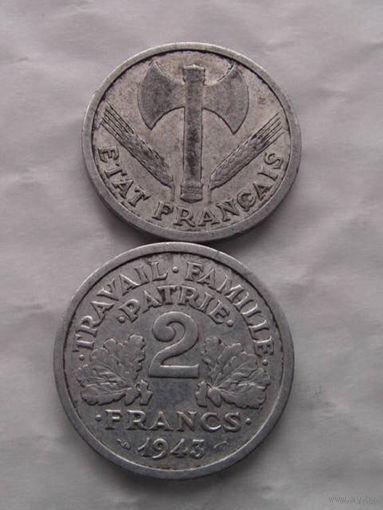 2 франка Франция 1943 г.в. топорики   распродажа