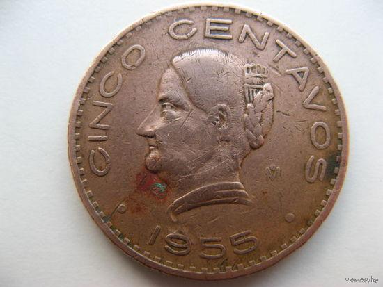 Мексика 5 сентаво 1955 г. (Голова направлена налево)