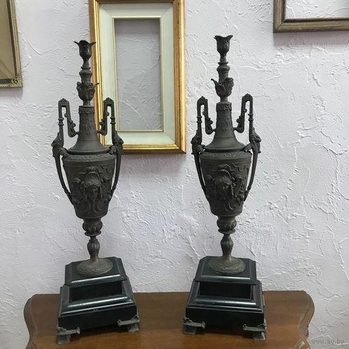 БЕЗ М.Ц!Антикварные каминные вазы, Франция, конец. 19в. Небольшие сколы на мраморе. Аукцион 3 дня!