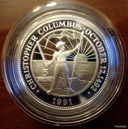 Багамские о-ва, 5 долларов, 1991, Колумб, серебро, пруф