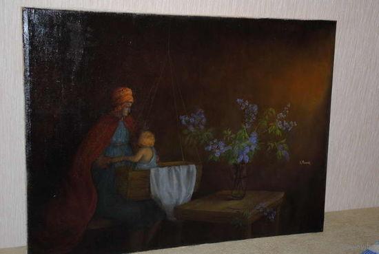 """Картина: """"Пробуждение младенца"""". Автор картины - Мельник К. Техника - Холст, масло, продаётся без рамы., - как на фото., - Формат картины., - 90 x 65 см."""