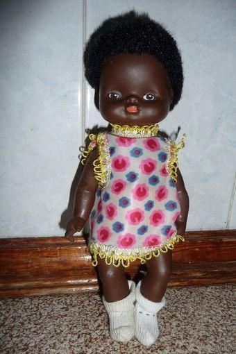 Чернокожая кукла, кукла-негрик (ГДР). Как новая!
