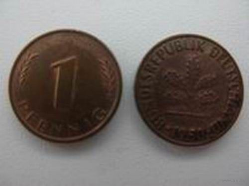 Германия  1 пф 1950 D