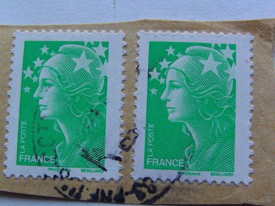 Франция марка зелёная 2 штуки   распродажа