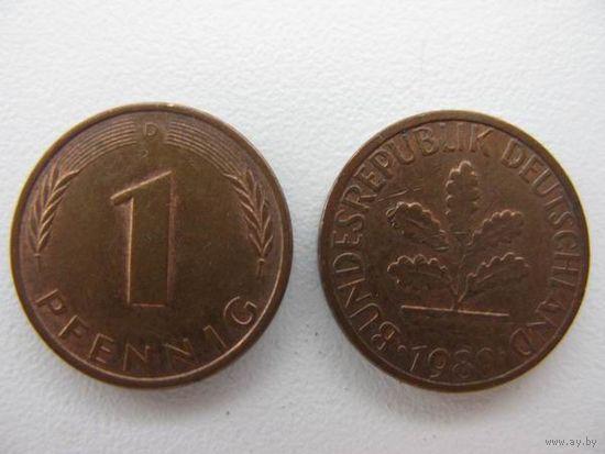 Германия  1 пф 1980 J