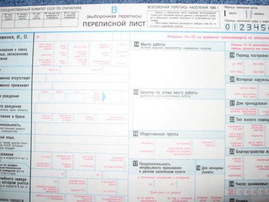 Переписной лист Всесоюзной переписи 1989 года РЕДКОСТЬ