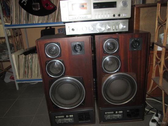 Колонки Радиотехника S-90+усилитель Амфитон-002+магнитофон-приставка Яуза 220 стерео.