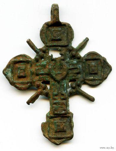 Двусторонний нательный крест XIV - XV