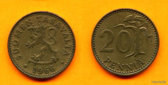 Финляндия 20 ПЕННИ 1966г.  распродажа