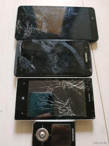 Телефоны на запчасти redmi note2 nokia philips и плеер samsung