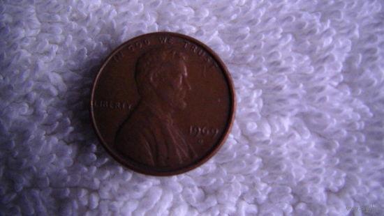 США 1 цент 1969г D распродажа