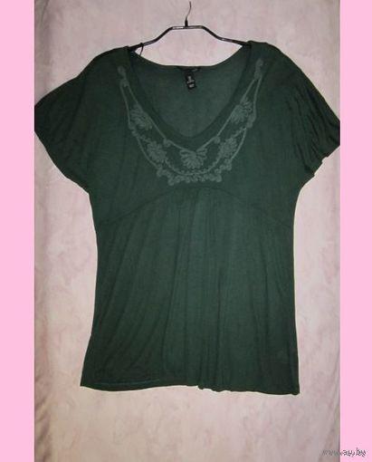 Майка H&M темно-зеленого цвета, р.L (свободный крой). Новая.