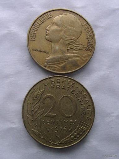 Франция 20 сантим 1976г  распродажа