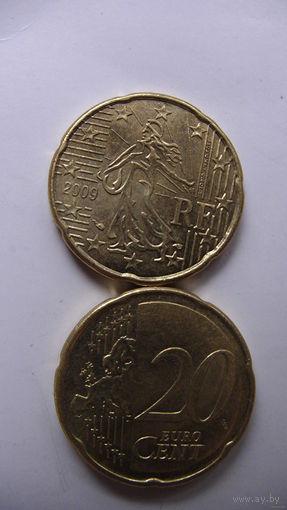 Франция 20 центов 2009г.  распродажа