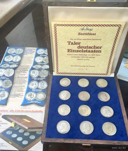 Германия, талер, набор 12 шт, серебро 1000 , официальная реплика из коллекции немецких банков