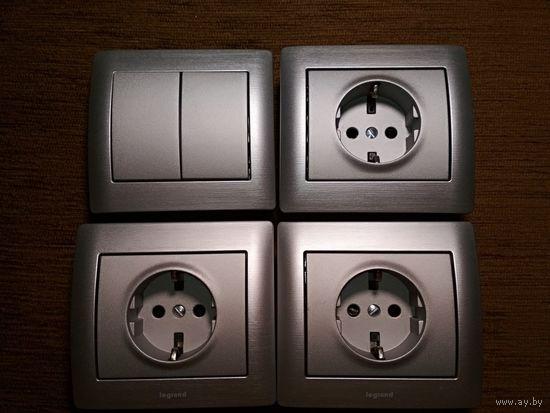 3 розетки + выключатель Legrand Galea Life аллюминий