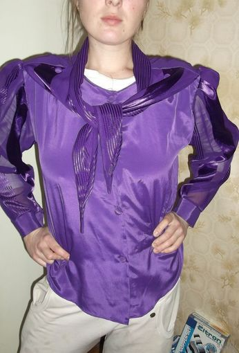 Лёгкая, воздушная блузка с красивым воротником (много вариантов ношения воротника - см.фото!), р.48-50