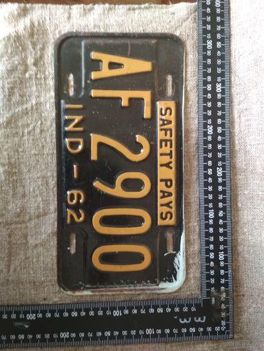 Винтажный американский автомобильный регистрационный номерной знак штат Индиана США 1962 год . Дизайн, декор, интерьер, коллекционирование, обмен.