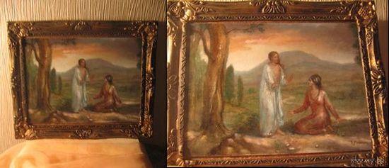"""Картина маслом в раме на красивый религиозный сюжет: """"Явление Иисуса к Марии Магдалене"""". Авторская работа - единичный экземпляр."""