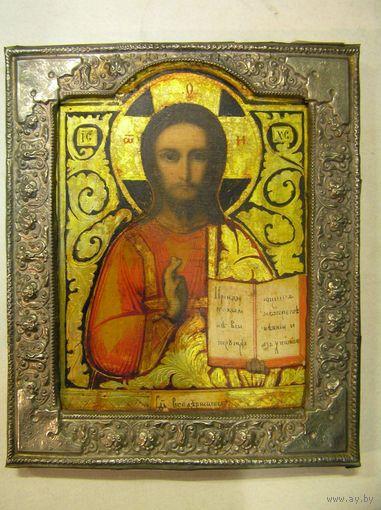 Икона в басме Вседержитель XIX В31