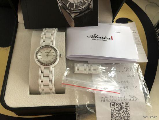 Женские часы Adriatica, керамика, полный комплект, чек, официальная гарантия