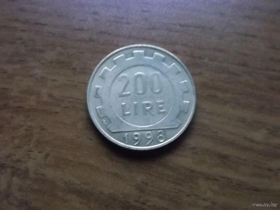 Италия 200 лир 1998