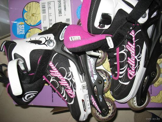 Регулируемые роликовые коньки девчачьи фирменные ROLLERBLADE, 4 размера (36,5-40,5), бу недолго